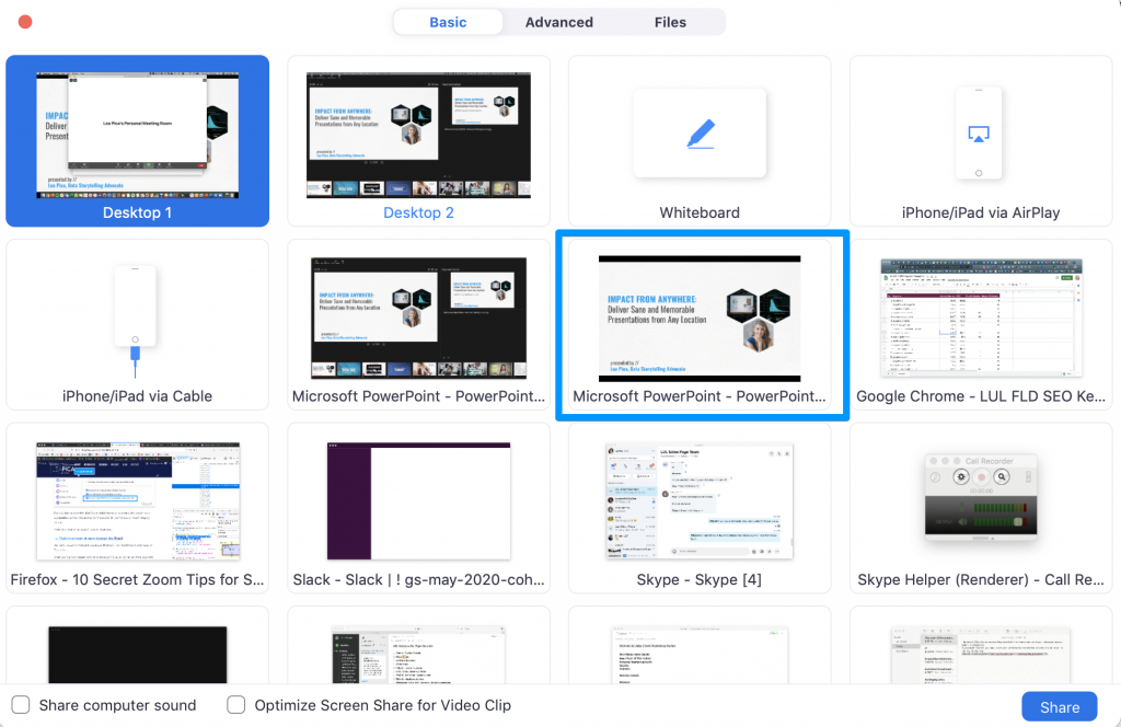 Zoom Tips for Online Presenting - Share Presenter View window